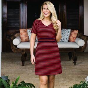 Draper James NWT Ponte Knit Stripe Large Dress